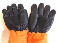 画像3: MB128-5 冷凍庫用防寒手袋・5本指(オレンジ×ブラック)