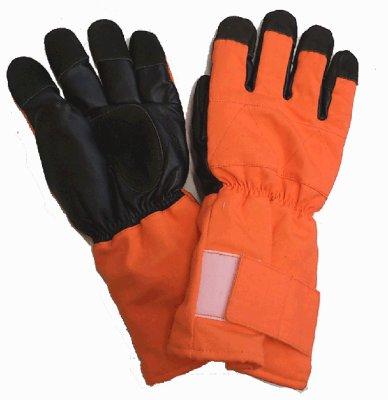 画像1: MB128-5 冷凍庫用防寒手袋・5本指(オレンジ×ブラック) (1)