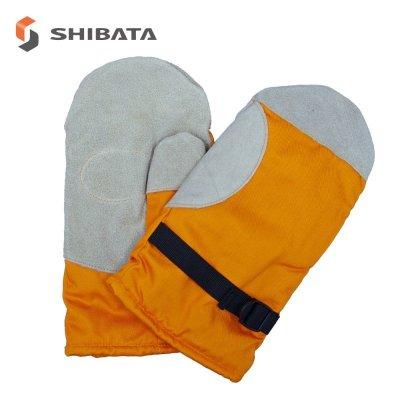 画像1: MB128-2 冷凍庫用防寒手袋・2本指(山吹色) (1)
